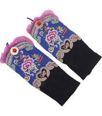 women vintage ethnic style embroidery flower guanti accessori per bracciali da polso caldi da danza