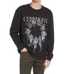 allsaints men's vincente crewneck sweatshirt, size xx-large in jet/rose ash pink at nordstrom