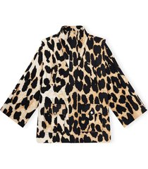 leopard linen canvas jacket