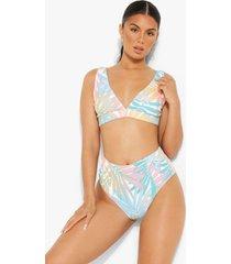 mintgroen palm print bikini broekje met hoge taille, mint
