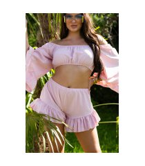 sexy latina zomer set- cropped top en shorts roze