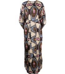 bazar deluxe geometric-print long kaftan dress - neutrals