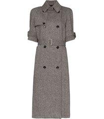 we11done trench coat mangas curtas com cinto - cinza