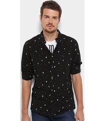 camisa acostamento manga longa caveira masculina