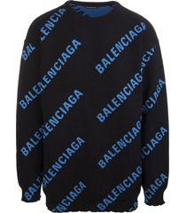 man black oversize sweater with all-over blue logo