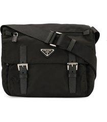 prada pre-owned triangle logo crossbody bag - black
