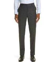 canali trim fit check stretch wool flat front dress pants, size 52 in charcoal at nordstrom