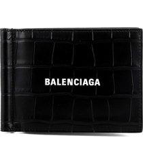 balenciaga black clip wallet
