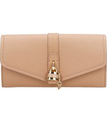 chloé aby wallet in beige leather