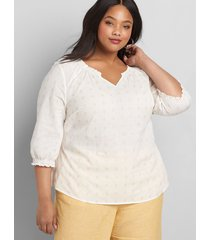 lane bryant women's shirred notch-neck embroidered top 30/32 ivory