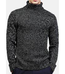 maglione casual a manica lunga tinta unita collo alto da uomo