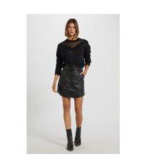 blusa de tricot manga longa decote com transparência preto