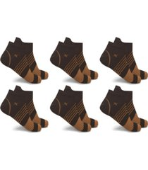 men's and women's copper-infused v-striped ankle compression socks - 6 pairs