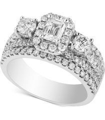 diamond triple design bridal ring (2 ct. t.w.) in 14k white gold