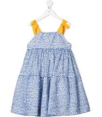 mi mi sol frayed-detail sleeveless dress - blue