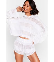 womens holy moly crochet hoodie and shorts lounge set - cream