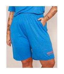 bermuda plus size com bolsos cintura super alta mindset azul royal