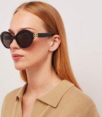 balenciaga women's bb oversized round acetate sunglasses - black/gold