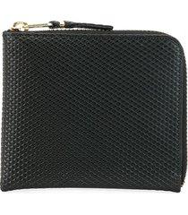 comme des garçons wallet textured zip-around wallet - black