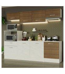 cozinha completa madesa onix 240003 com armario e balcão branco/rustic 096e branco/rustic/branco