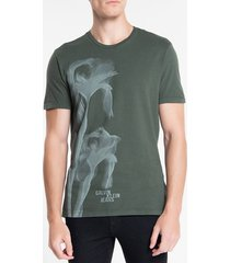 camiseta masculina flor glitch verde militar calvin klein jeans - p