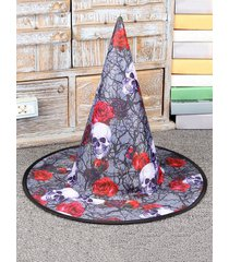 halloween party skull rose print witch hat