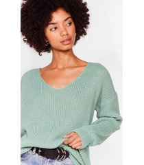 womens 'til v work it out knitted sweater - sage