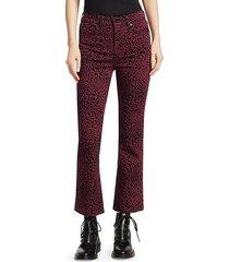hana cheetah-print cropped bootcut jeans