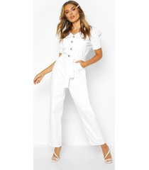 tie waist sleeve detail denim jumpsuit, ecru