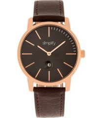 simplify quartz the 4700 rose gold case, genuine black leather watch 40mm