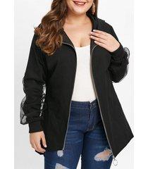 plus size skew zipper mesh panel coat