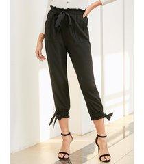 yoins bolsillos laterales con lazo negro cintura elástica pantalones
