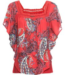 maglia lunga con chiffon fantasia (rosso) - bodyflirt