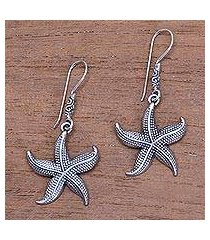 sterling silver dangle earrings, 'sanur starfish' (indonesia)