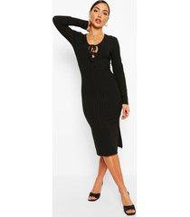 gerecyclede geribbelde midi jurk met strik, zwart