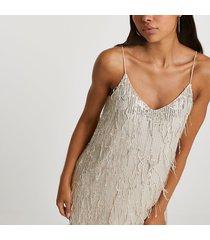 river island womens silver sequin tassel slip dress