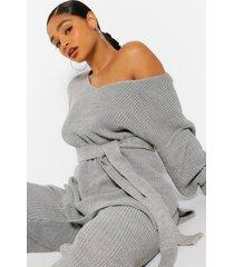 plus side split knit sweater & jogger set, grey marl