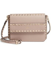 valentino garavani small rockstud calfskin leather shoulder bag - beige
