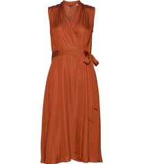 sleeveless midi length wrap dress with tie jurk knielengte oranje scotch & soda