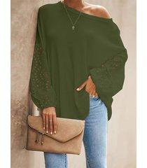 blusa de cuello redondo con diseño hueco verde militar de yoins