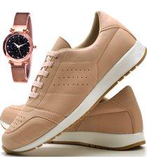 tênis sapatênis casual asgard com relógio gold feminino db 1102-1103lbm rosa