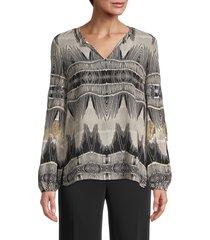kobi halperin women's felicia ikat silk blouse - taupe multicolor - size xl