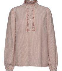 stripiecr blouse blouse lange mouwen roze cream