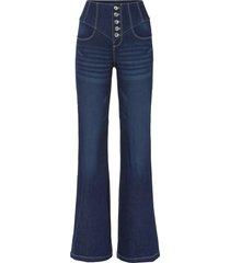 jeans a zampa a vita alta con poliestere riciclato (blu) - rainbow