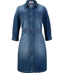 abito di jeans elasticizzato con manica a 3/4 (blu) - john baner jeanswear