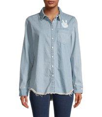 lauren moshi women's peace graphic shirt - summer island blue - size xs