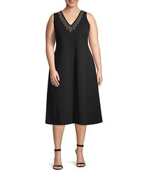 plus embellished fit-&-flare dress