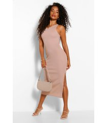 petite. geribde midi-jurk met hoge hals en split, zand
