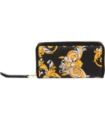 versace jeans couture baroque print faux leather wallet