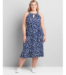 lane bryant women's halter ruffle-hem fit & flare dress 14/16 blue americana star